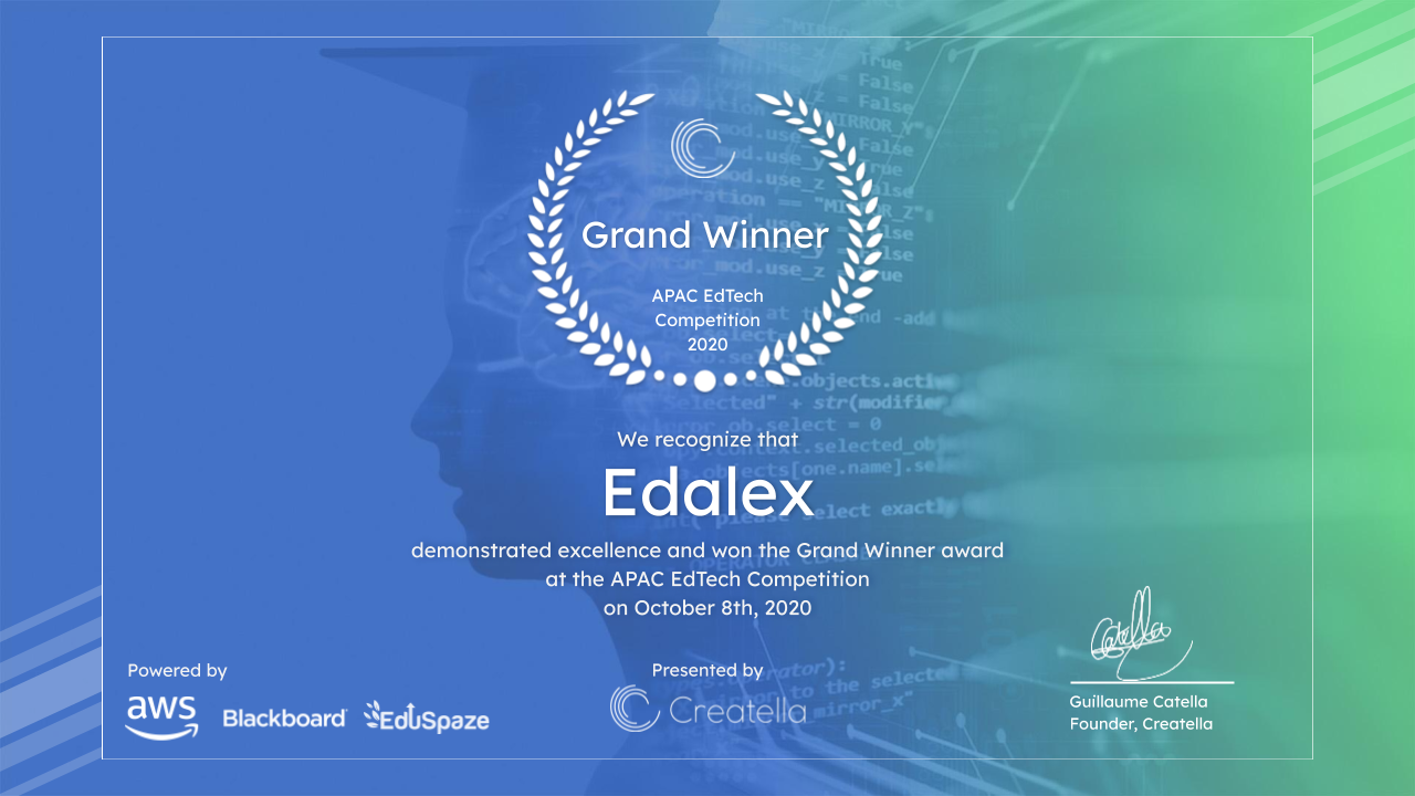 Edalex Selected as Inaugural Winner of the Future of Education in APAC, EdTech Venture Competition