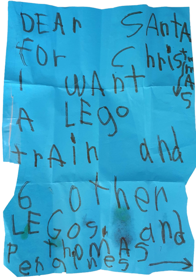 Letters to Santa - Lego and Engines top the list