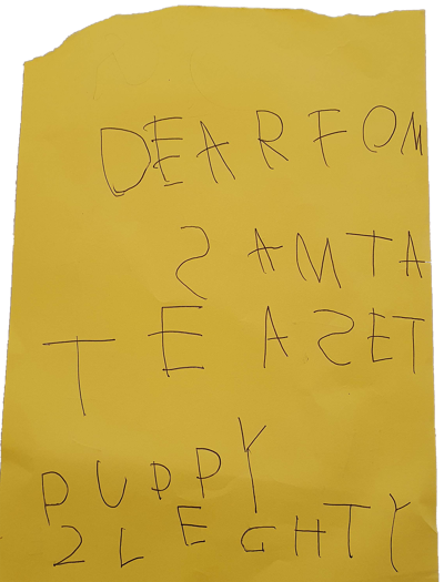 Letter to Santa - or Samta if still learning your letters