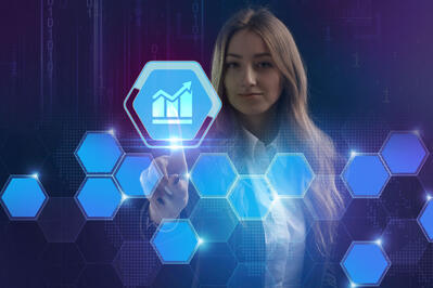 Young Woman Selects Digital Bar Chart Icon - Digital Credentials Document Individual Skills and Capabilities